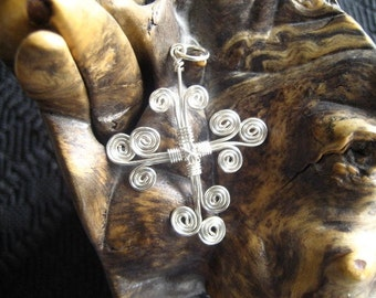 Handmade Non Tarnish Silver Enameled Copper Contemporary Swirled Cross