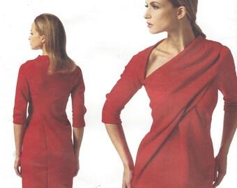 Donna Karan Womens Dress Dramatic Neckline OOP Vogue Sewing Pattern V1341 Size 14 16 18 20 22 Bust 36 to 44 UnCut Vogue American Designer