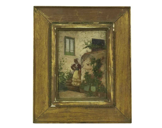 Antique French Arlesienne Lady Portrait Painting. Rustic Framed Original Art. Provencale Country Home Decor & Gifts.