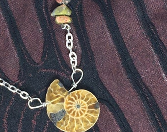 Ammonite Fossil Necklace with stone accents