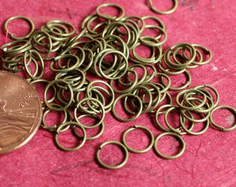 Antique brass jump ring 6mm outer diameter 22g thick, 100 pcs (item ID ABJR6m22G)