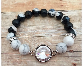 Swarovksi Crystal Bracelet, Statement, Beaded Bracelets, Gemstone Bracelet, Stretch Bracelet, Black And White, Agate, Stacking Bracelet