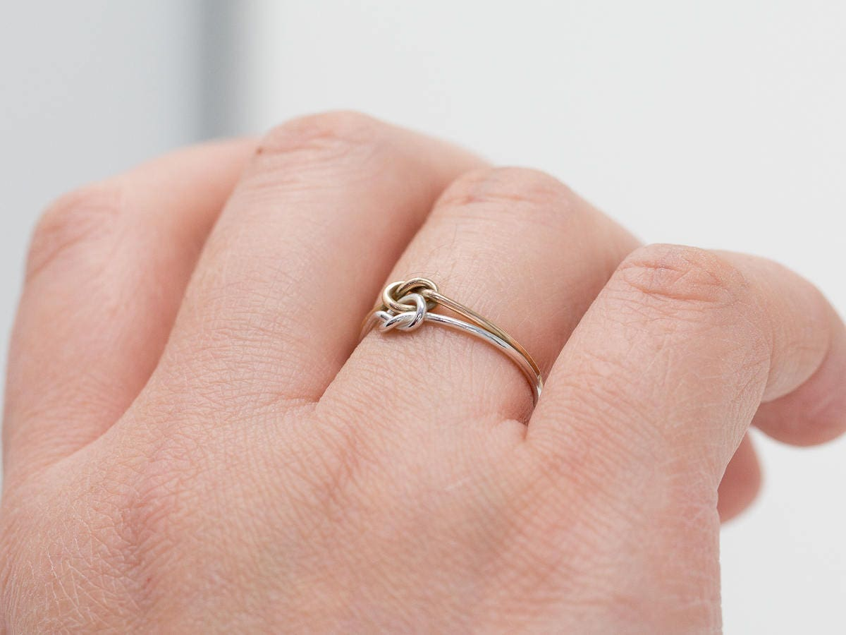 Sterling Silver&Gold Filled Knots Ring|Double Knotted Ring|2 Knots ...