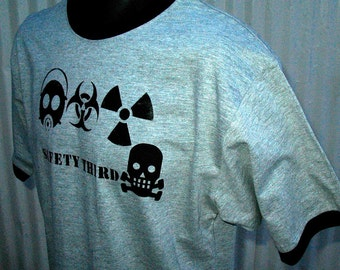 Triple Threat Skully tshirt Safety Third - Mens tshirt safety 3rd ringer tee Gray w Black or Navy S to 3XL under25 gas mask biohazard