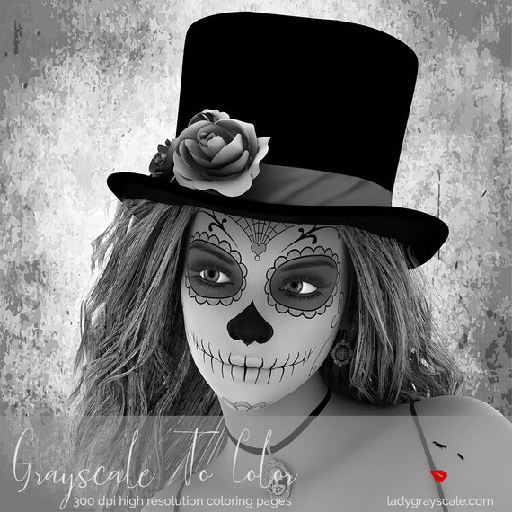 Sugarskull Woman Grayscale Coloring Page Sugar Skull Greyscale For Adults BookInstant Download