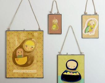 The Scary Things // Illustration Print, Children, Animal Art, Robot, Nursery Art, Digital Giclee, Drawing, Painting, Modern Art, Friends