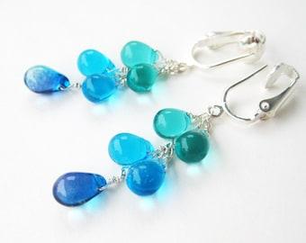Shades of Blue Clipon Earrings, Aqua Blue Teardrop Clip Earrings, Bright Blue Dangle Earrings for Non Pierced Ears, Silver Ear Clips, Pool