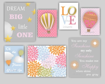 Baby Girl Nursery Art Hot Air Balloon Nursery Art Dream Big Little One You Are My Sunshine Flower Burst Nursery Art Choose Colors TRAB07