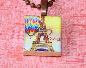 Balloon Ride In Paris Scrabble Tile Necklace - Resin Pendant