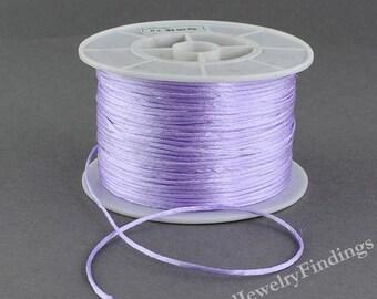 1mm Satin Cord - Purple Satin Nylon Shamballa Kumihimo Macrame Beading Silk String - 5 yards long -N061