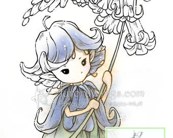 Digital Stamp - Whimsical Bluebell Sprite 2 - Instant Download - digistamp - Fantasy Line Art for Cards & Crafts by Mitzi Sato-Wiuff