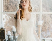 Romantic v-neck wedding dress with sheer lace bodice