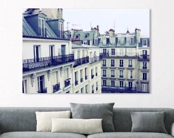 """Paris Photography - Canvas Wrap - Architecture Art - Slate Blue - Man Cave Art - Paris Print - Large Wall Art  - 12x18 24x36  """"Montmartre"""""""