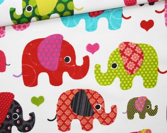 100% cotton fabric printed 50 x 160 cm, red, green, pink elephants on white background