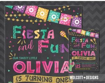Fiesta Invitation, Fiesta Birthday Invitation, Mexican Fiesta Invitation, Fiesta Party, 1st Birthday, Chalkboard, Watercolor, Mexican Fiesta