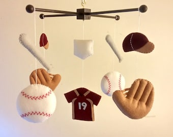 "Baby crib mobile, Felt mobile, Baby mobile, Baseball mobile, Sports mobile, nursery mobile - ""Take me out to the ball game"""