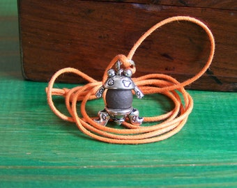 Necklace children frog stoneware black and silver metal