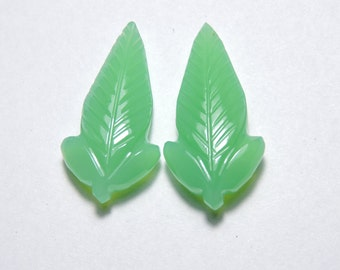 2 Pcs Very Attractive Natural Chrysoprase Chalcedony Hand Carved Leaves Shape Gemstone Beads Size 30X15 MM