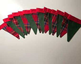 Red Plaid and Hunter Green Bunting