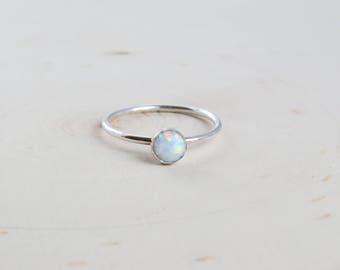 White Opal Silver Ring | Opal Ring | Silver Opal Ring | White Opal Ring | October Birthstone | Gift for Her | Dainty Ring