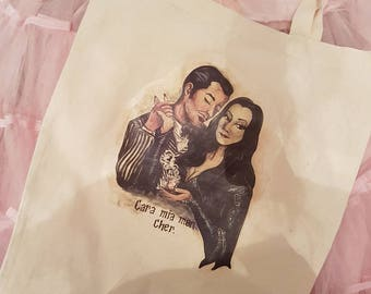 Morticia and Gomez Addams tote bag