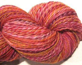Handspun yarn, Sailor's Delight, DK weight, 2 ply, 454 yards, pink yarn, red yarn, hand dyed BFL wool, knitting supplies, crochet supplies