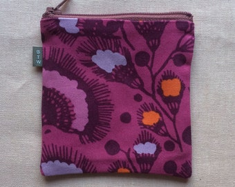 Square raspberry zippered coin purse, small credit card pouch