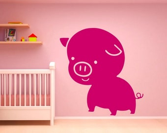 pig wall decal pig decor for home pig decor pig wall art pig wall sticker (Z652)