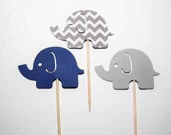 24 Navy Blue and Gray Elephant Standard Cupcake Toppers,Baby Shower,1st Birthday,Gender Reveal,Baby Boy
