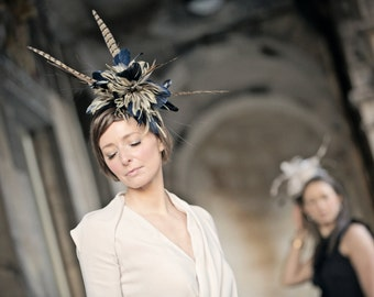 Dramatic pheasant feather headpiece suitable for Ascot, Dubai World Cup, the Curragh Races