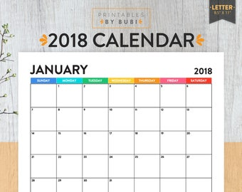 """2018 Calendar Printable, 2018 Wall Calendar, Digital Monthly Pages, Letter Size 8.5"""" x 11"""" Instant Download PDF"""