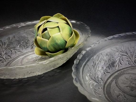 """Pair Of Vintage Duncan Miller Sandwich Depression Glass Oval Vegetable Serving Bowls-""""Ships International"""" Email For Rates"""