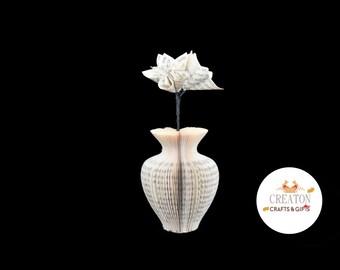 Harry Potter Gift -  Mini Paper Vase  with Origami Flowers - Harry Potter book gift - Harry Potter Flowers - Urn Shaped vase - Book Art gift