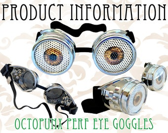 INFO Octopunx 3D Look Printed Perforated Eye Goggles - Information ONLY Do Not Buy This Listing
