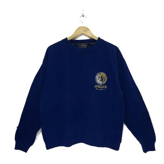 Jumper Medium Big Vintage Italy MEDUSA Sweatshirt Blue Monogram Designer Logo EMBROIDERY qRqO1tnp7w