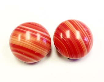 Large red striped glass clip on earrings, 1960s.