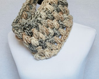 Cream, Brown and Black Puff Stitch Cowl, Off White Bobble Cowl, Marble Crochet Neck Warmer, Beige Infinity Scarf - Giant Bobble
