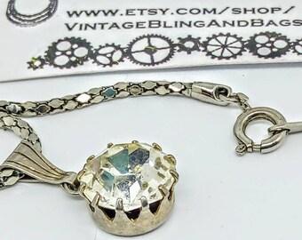 1980s 47cm vintage rhinestone pendant, vintage rhinestone necklace, large rhinestone pendant, weddings, vintage rhinestone pendant, 1980s