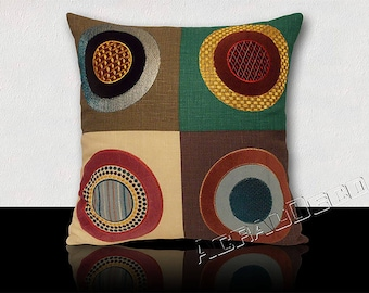 "Square cushion""MULBERRY"" colorful psychedelic circles embroidered velvet and silk."