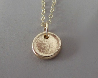 Pebble Necklace in 14k Yellow Gold, Tiny Pebble
