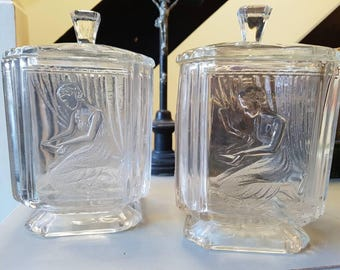 Gorgeous 1920s 1930s Art Deco Pandora's box glass barrells