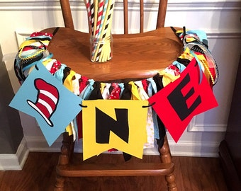 Cat in the Hat / Dr. Suess Inspired Fabric ONE High Chair Banner or Photo Prop