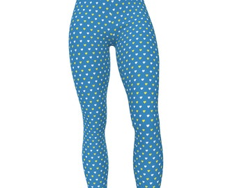 UCLA Blue & Gold, Hearts Pattern High Waist Women's Stretch Leggings