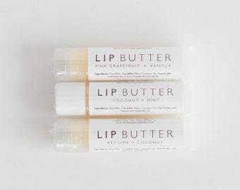 3 Lip Butter VARIETY PACK / Organic Vegan  / Shea Butter Coconut Oil / Essential Oils / Bulk Balm / Pink Grapefruit Vanilla Key Lime Coconut