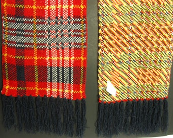 Vintage Red Plaid Scarf, Winter Scarf, Red, Women Scarf with fringed OSFM