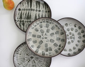 Hollow ceramic plate, abstract pattern, small portion, ceramics, black earth, sandstone, pottery, unique, handmade