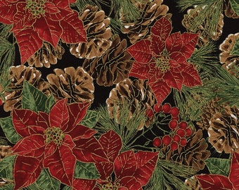 Poinsettia Pine Cones Metallic Gold Christmas Fabric - Timeless Treasures - CM3281 - Red Green Black