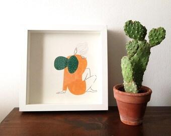 Print illustration woman cactus, white background 1