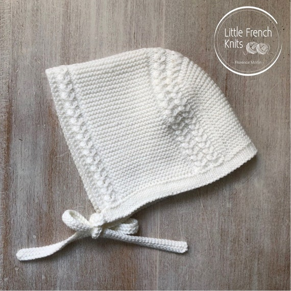 48 / Prince Louis Royal Baby Bonnet/ Knitting Pattern Instructions in French /  PDF Instant Download / Size : Newborn - 3 months