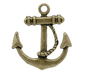 jewelry findings Boat anchor  pendant charm  quantity four   drw30  antiqued bronze